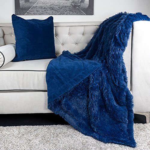 Homey Cozy Faux Fur and Flannel Navy Blue Throw Blanket, Super Soft Shaggy Fleece Fuzzy Lightweight Wool Plush Blanket for Sofa Couch Decorative Floor, 50