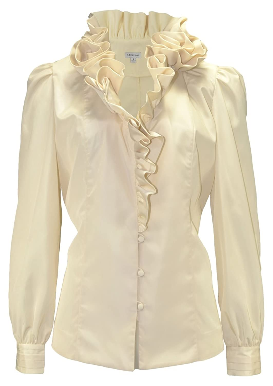 Edwardian Blouses | White & Black Lace Blouses & Sweaters Ruffle Neck Blouse $263.35 AT vintagedancer.com
