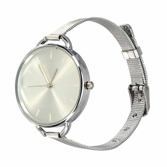 Reloj de pulsera Joya reloj forma dial rotonda Plateado Hebilla Cuarzo analógico Mujer Plata Bolt: Amazon.es: Relojes