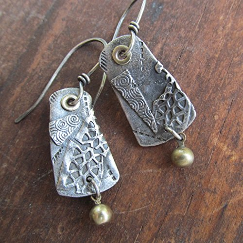 Riveted Mixed Metal Earrings- Diana Anton Jewelry Design -