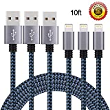 Eashion iPhone Charger, 3Pack 10FT Nylon Braided 8 Pin Lightning to USB Charger Cable, Compatible with iPhone 7/7 Plus/6s/6s Plus/6/6 Plus/5/5S/5C/SE/iPad and iPod(Blueblack)