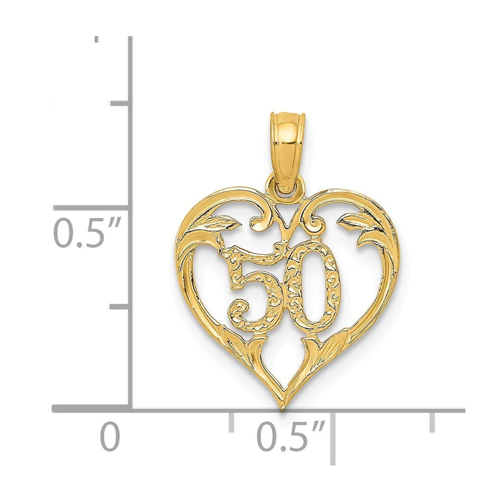 Mia Diamonds 14k Solid Yellow Gold 50in Heart Cut-Out Pendant 19mm x 14mm