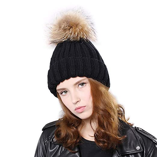 45931bb6866 Womens Winter Knitted Pom Pom Beanie Cap Faux Raccoon Fur Ball Bobble Hat  Ski Cap for