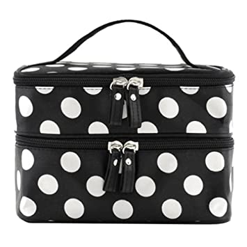 duafire cosmetic bag double layer dot pattern travel toiletry bag organizer with mirror black