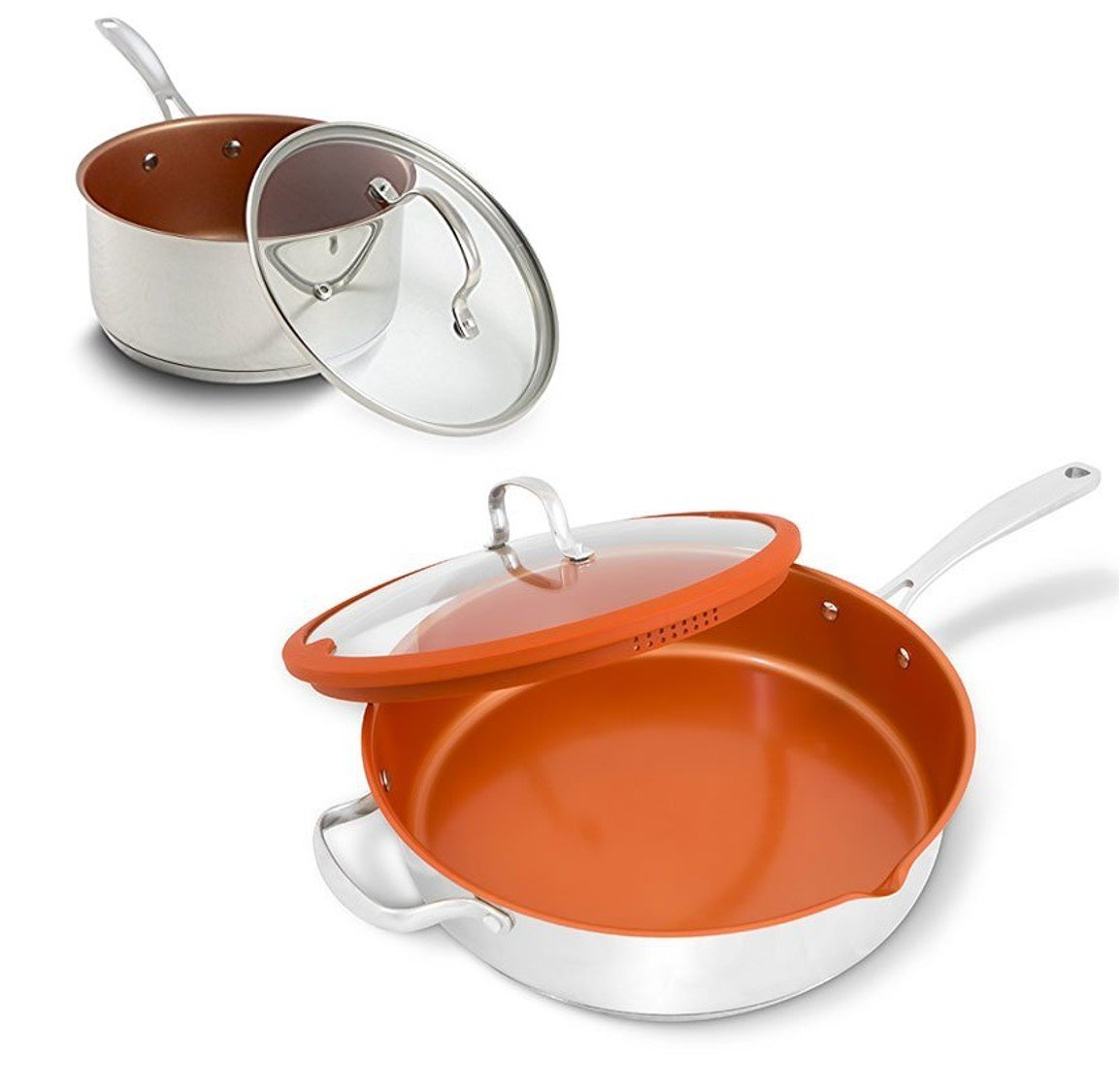 NuWave 5 Quart Everyday Pan And 1.5 Qt Saucepan, Stainless Steel, Induction Ready, Non-Stick