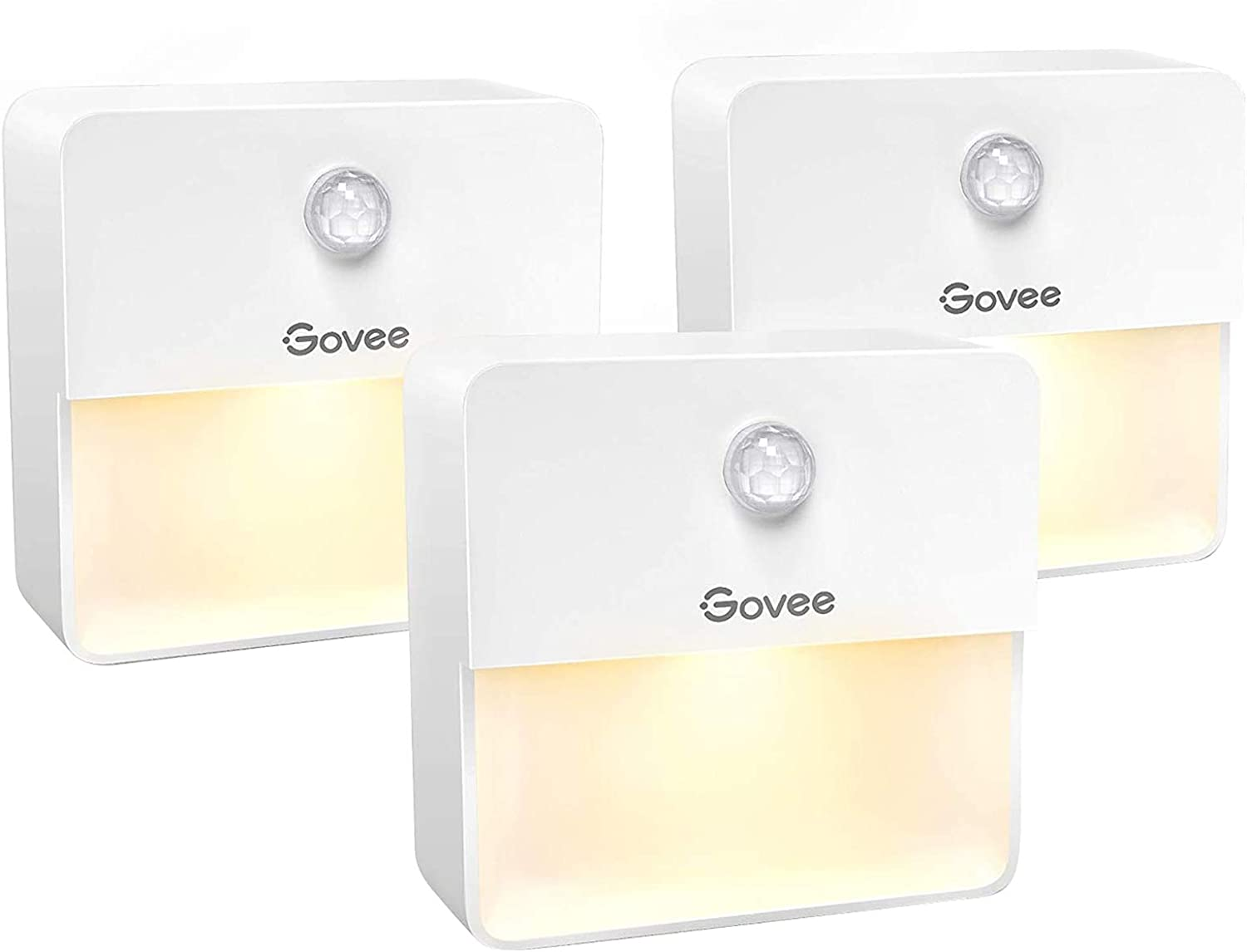 Govee LED Night Light Motion Sensor and Battery Powered, Warm White and Soft Light LED, Stick-on Night Lights, Energy Efficient and Compact for Bathroom Hallway Bedroom Stairs Kitchen, 3 Pack