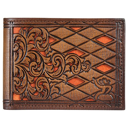 (Hooey Brand Roughy Signature Diamond Tooled Orange Inlay Leather Bifold Wallet - 1831161W1)