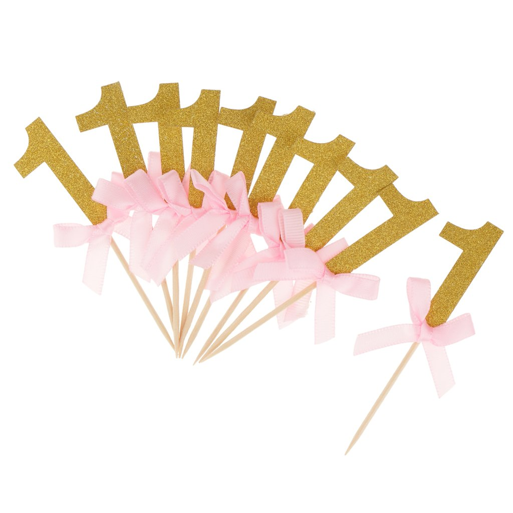 Dovewill 12x Glitter Number ONE Cake Topper Toothpicks with Pink Bow Kids' First Birthday Party Decor - Gold