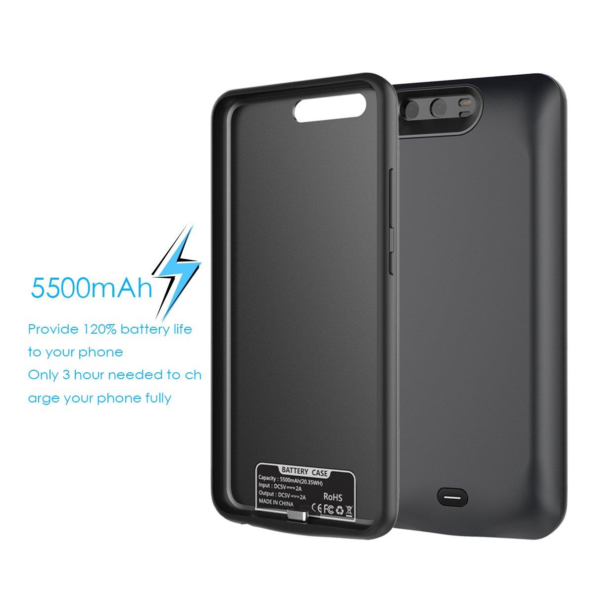 BasicStock 5500mAh Rechargeable Coque avec Batterie Noir Externe Chargeur Batterie Portable Power Bank Extended Juice Pack Antichoc Housse de Protection pour Huawei P10 Coque Batterie Huawei P10