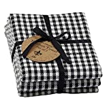 DII Design Imports Black Check Heavyweight Kitchen Towel Set of 3 Size 18 X 28'' 100% Cotton Heavyweight, Ultra Absorbent, Basket Weave Dishcloths. Set Includes 3 Black Checked Towels