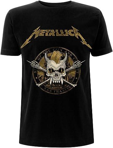 Metallica Gold Skull James Hetfield Lars Ulrich Oficial Camiseta para Hombre: Amazon.es: Ropa y accesorios