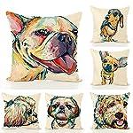 "Redland Art Cute Pet Border Collie Dog Pattern Cotton Linen Throw Pillow Covers Car Sofa Cushion Cases Home Decor Square 18""X18"" Inch 8"