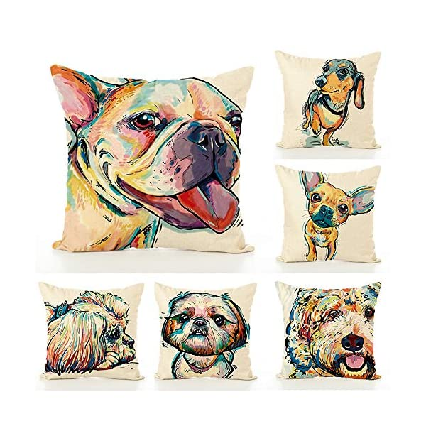 "Redland Art Cute Pet Border Collie Dog Pattern Cotton Linen Throw Pillow Covers Car Sofa Cushion Cases Home Decor Square 18""X18"" Inch 3"