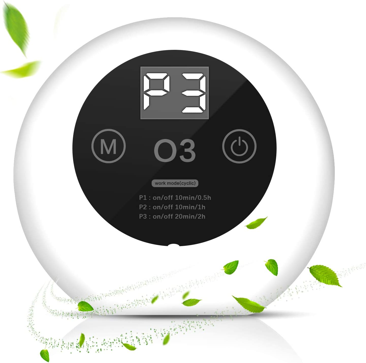 Collen Purificador de Aire Portátil, Generador de Ozono para Hogar Esterilización Desodorización, Ionizador de Aire Silencioso, Maquina Ozono Eliminar Olor para Cocina,Baño,Habitacion,Mascota
