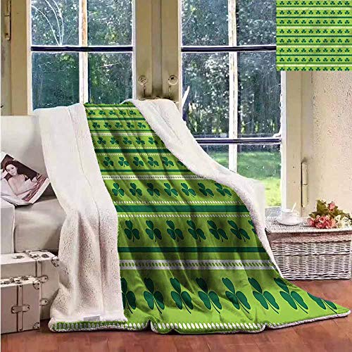 Sunnyhome Flannel Double Blanket Green Traditional Irish Clovers Personalized Baby Blanket W59x47L ()
