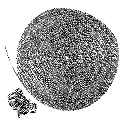 (25 Foot Length Ball Chain, Number 3 Size, Stainless Steel, 25 Matching Connectors)