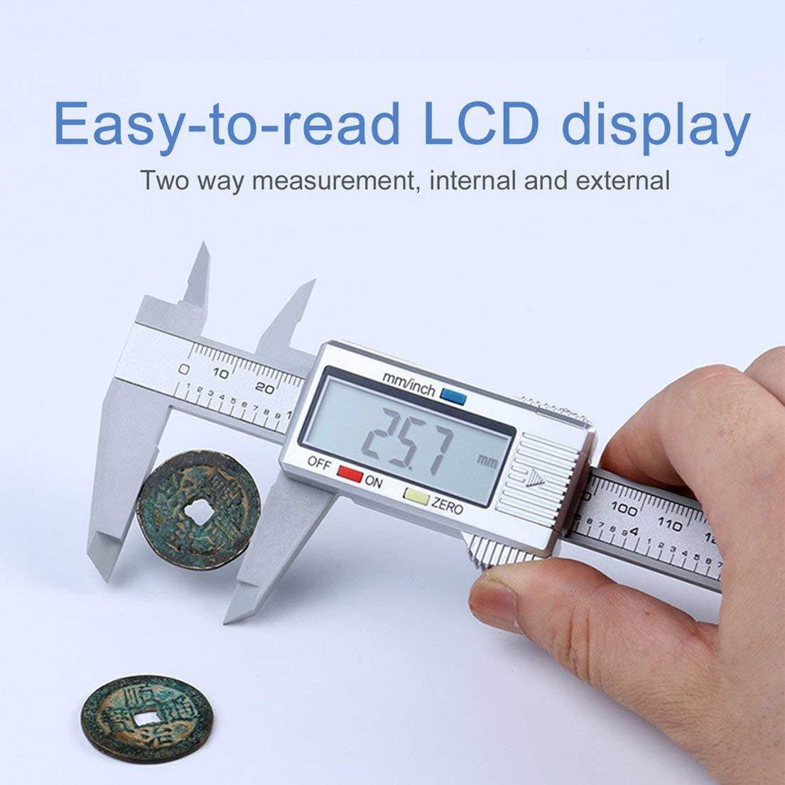 Calibre avec conversion de pouce en millim/ètre DE-FR Composites en fibre de carbone LCD Calibre num/érique Outil de mesure R/ègle de compas de calibre 0-150mm couleur: noir