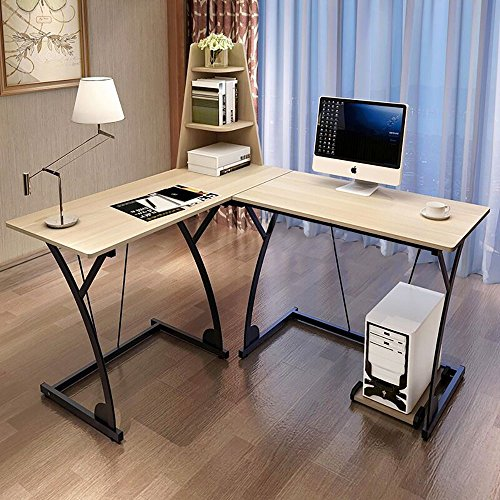 Soges L-Shaped Desk Computer Desk Multi-functional Desk Computer Table Workstation Desk, Beige 812-B-NN
