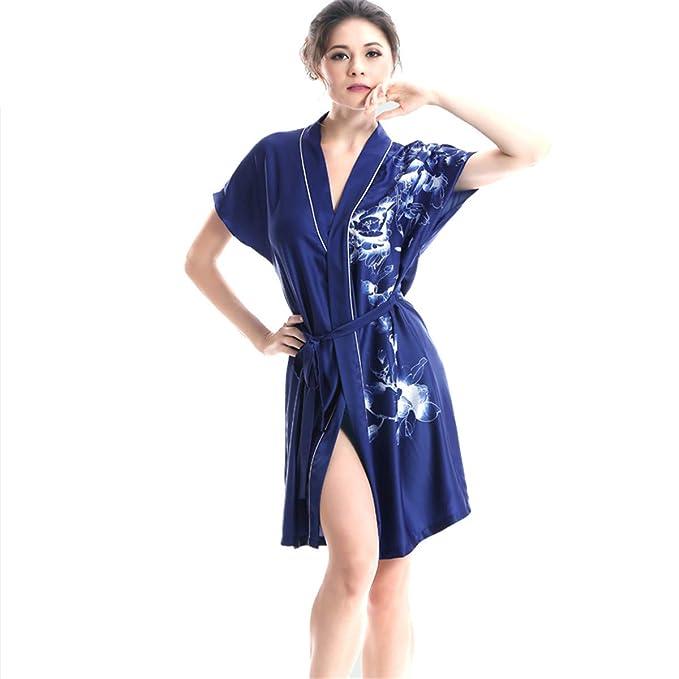 Batas Y Kimonos para Mujer Printed Home Service Primavera Y Verano De Seda De La Bata