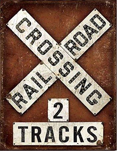 Train Tin Sign (Railroad RR Crossing 2 Tracks Weathered Tin / Metal Sign 16