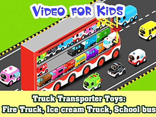 (Truck Transporter Toys: Fire Truck, Ice cream truck, School Bus)