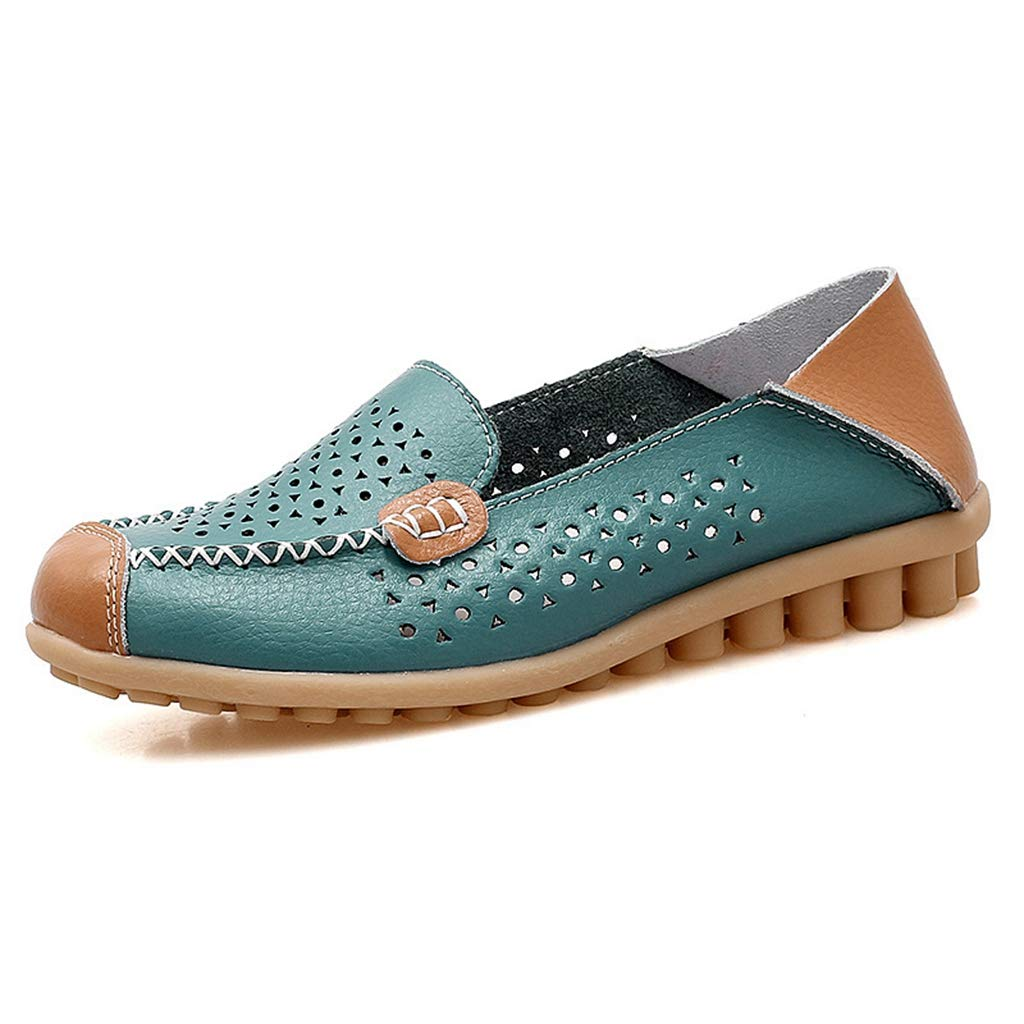 GIY Womens Leather Loafers Comfortable Ladies Round Toe Casual Wild Breathable Summer Nurse Slip-On Driving Walking Flats Shoes