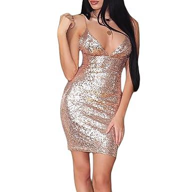 bffbd0e86fa Women Sequins Cami Dress Sexy Deep V Neck Spaghetti Strap Short Bodycon  Club Dress (Color