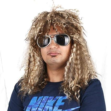 80/'s Rocker Mens Wig Blonde Glam Heavy Metal Costume Fancy Dress Party Hard