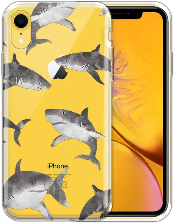 FINCIBO Case Compatible with Apple iPhone XR 6.1 inch, Clear Transparent TPU Silicone Protector Case Cover Soft Gel Skin for iPhone XR - Gray Sharks