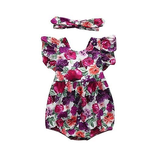 65622110d24f Goodlock Newborn Infant Fashion Clothes Set Baby Girls Floral Ruffles Romper  Jumpsuit Sunsuit Outfits Clothes (