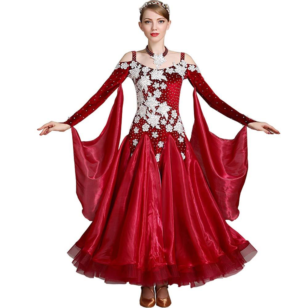 社交ダンス衣装 社交ダンスドレス モダンドレス ダンスウェア ダンスワンピース 社交ダンス 練習着 社交ダンス競技用のドレス スタンダードドレス レッド Medium