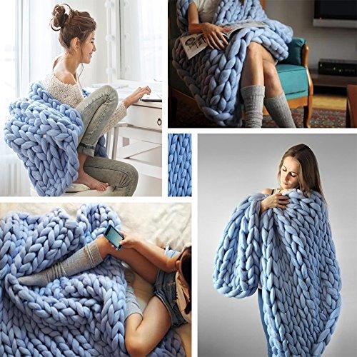 "ACARPO Chunky Knit Blanket Handwoven Wool Yarn Knitting Throw Bed Sofa Super Warm Home Decor Denim Blue 40""x47"""