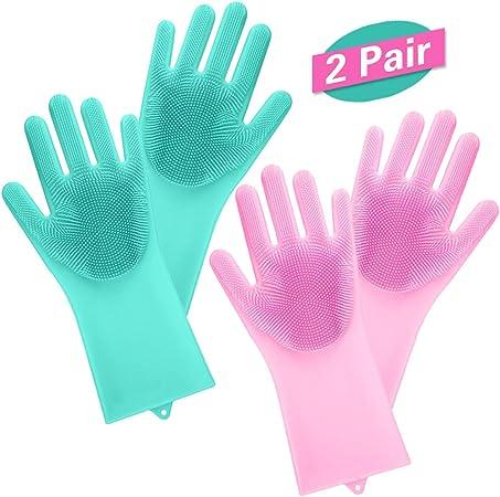 Gants magiques en silicone pour laver la vaisselle laver les poils danimaux et laver la voiture Vert