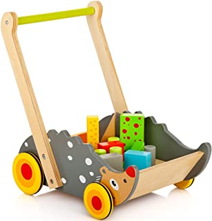 Leomark Wooden Baby Walker Hedgehog Training Walker with toy blocks Kids/Baby Push Wooden Learning Walker, Push and Pull Toys with Stacking Wooden Blocks, Push along activity toy childrens toddlers truck