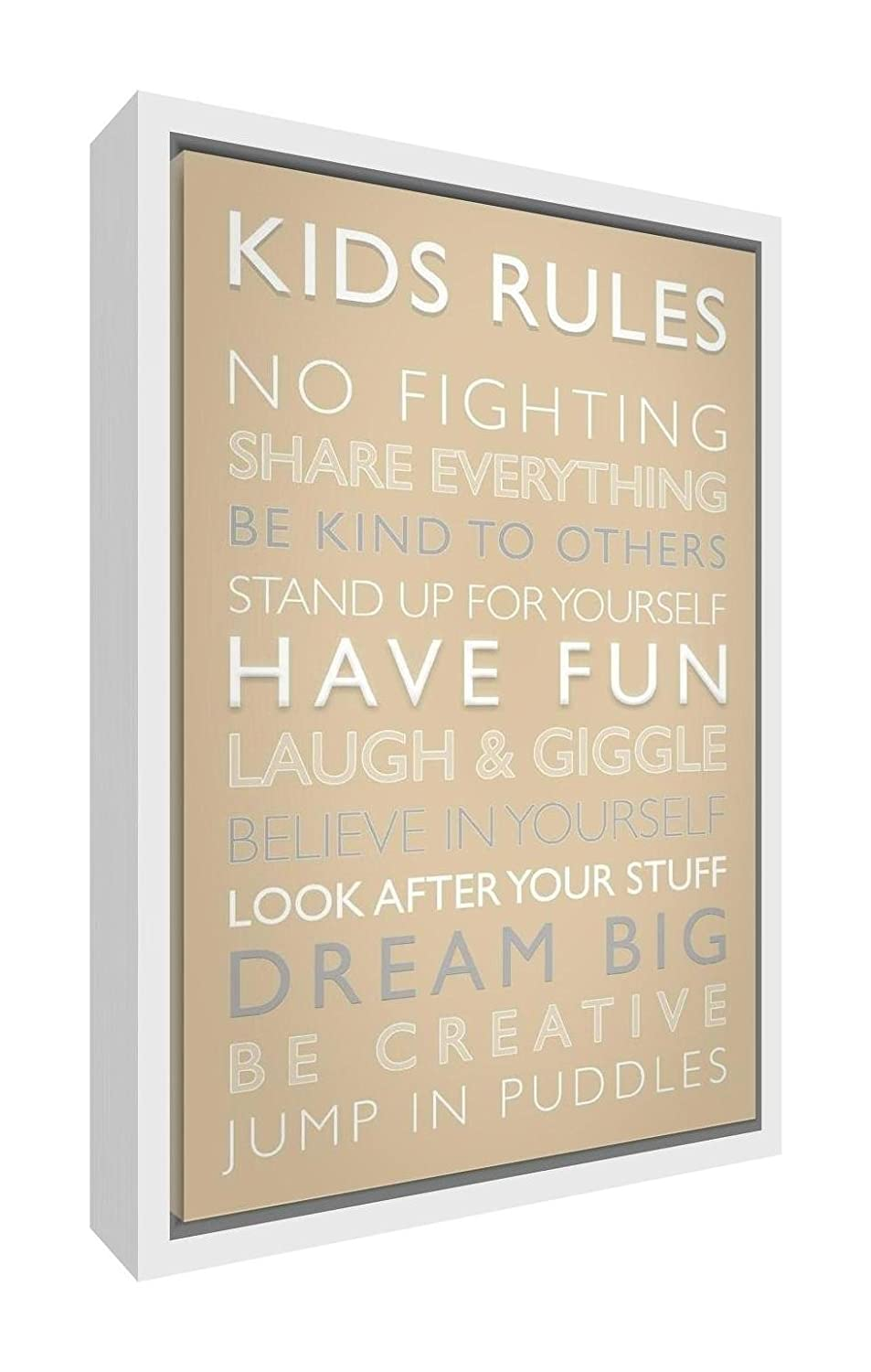 Feel Good Art Eco-Printed and Framed Nursery Canvas with solid White Wooden Frame (44 x 34 x 3 cm, Medium, Multicoloured, Kids Rules) KR-1216FCWHT-15