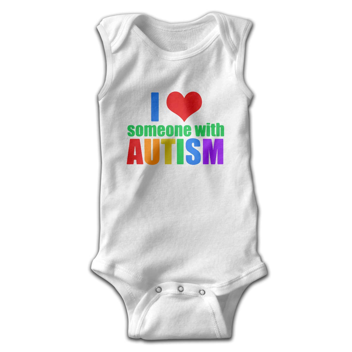 I Love Someone with Autism Printed Newborn Toddler Baby Sleeveless Bodysuits Coverall Jumpsuit