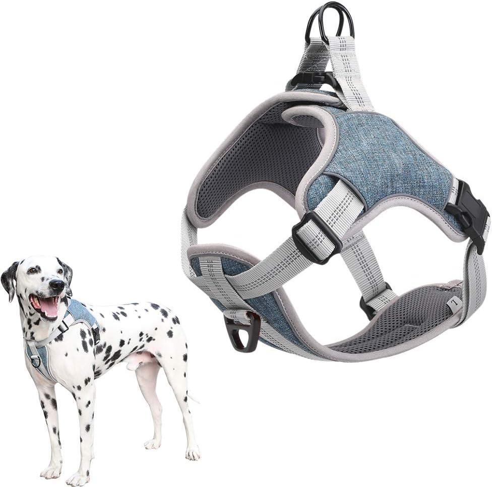 Harnais pour chien sans traction meilleure formation de marche ext/érieure r/éfl/échissante /à contr/ôle facile poitrine respirante rembourr/ée en maille r/églable avec cadeau 1 petite cloche gratuite