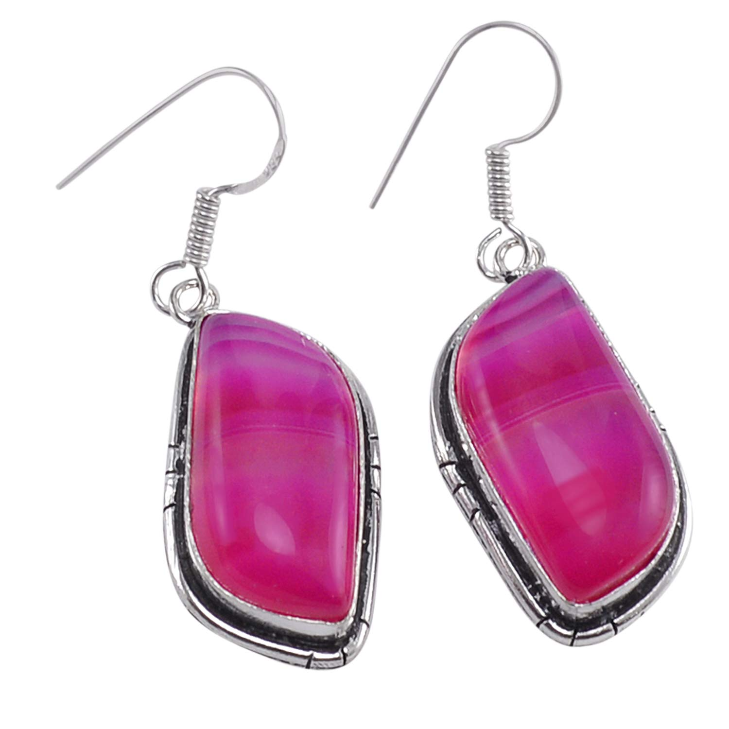 Saamarth Impex Striped Onyx Gemstone 925 Silver Plated Dangle Earring PG-120388