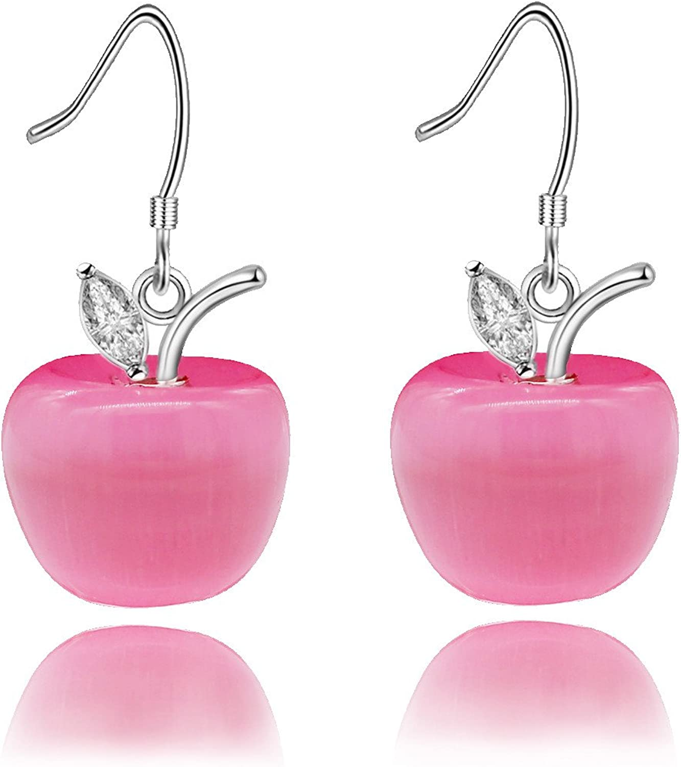 Uloveido Cute Apple Dangle Drop Fruit Stud Earrings Jewelry for Women and Teen Girls Kids with Crystal YL007