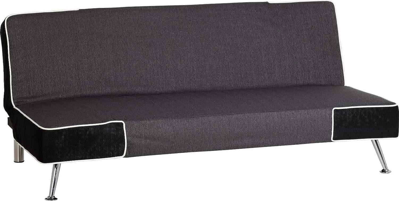 Florenz Sofa Bett grau/schwarz Stoff