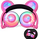 iGeeKid Kids Headphones Bear Ear-Inspired USB Rechargeable LED Backlight,Wired On/Over Ear Gaming Headsets 85dB Volume Limited for Girls,Boys,Compatible for Kids Tablet,iPad,iPhone,Android,PC(Pink)