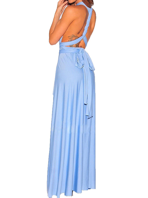 Cornflower bluee Clothink Women's Congreenible Wrap Multi Way Party Long Maxi Dress