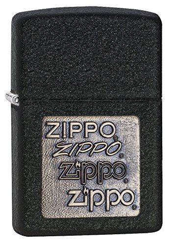 (Zippo Brass Emblem Pocket Lighter, Black Crackle)