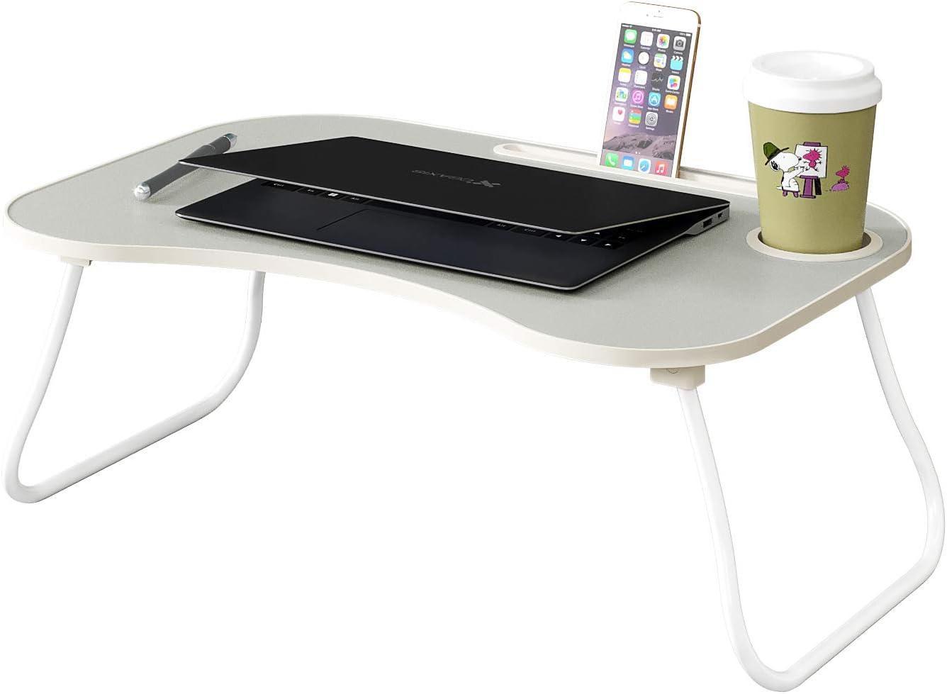 HOME BI Laptop Desk Portable Standing Desk, Foldable Sofa Breakfast Tray, Notebook Stand Reading Holder, Bed Writing Desk with Cup Holder, Pen & Phone Holder (Light Grey)