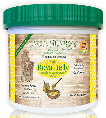 #1 Best Tasting Royal Jelly, Premium Fresh Farmers Market Quality. Big 1lb Double-Sealed Artisan California Product Creamy Raw Honey from Canada. Original Green Lid