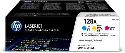 Hp 128a 3er Pack Cf371am Blau Gelb Rot Original Toner Für Hp Laserjet Pro Cp1525 Hp Laserjet Pro M1415 Bürobedarf Schreibwaren