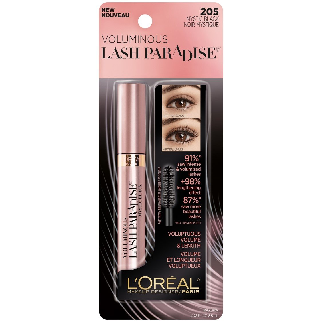 ca55c4719f5 Amazon.com : L'Oreal Paris Makeup Lash Paradise Mascara, Voluptuous Volume,  Intense Length, Feathery Soft Full Lashes, No Flaking, No Smudging, No  Clumping, ...