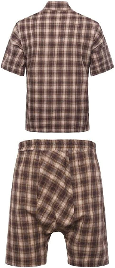 DressUMen Plaid Pattern Short-Sleeve Baggy Strappy Shirt and Board Shorts Sets