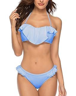 11797681b22f3 X-HERR Sexy Two Piece Ruffle Flounce Bandeau Top Cheeky Bottom Bikini  Swimsuit