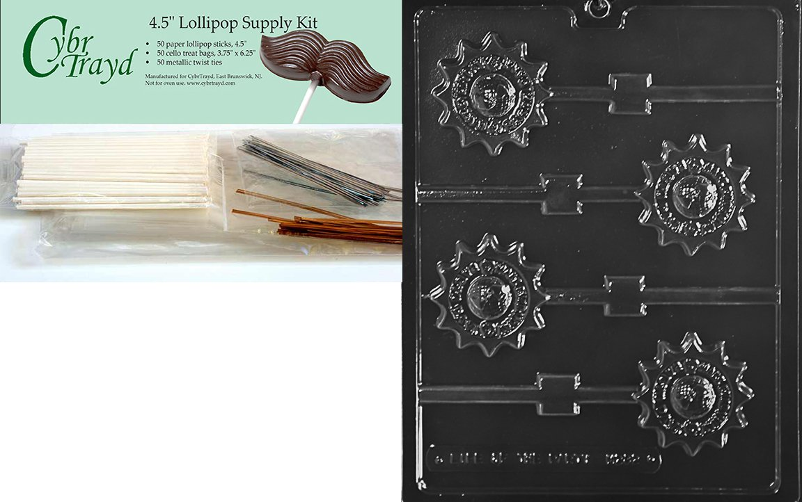 Cybrtrayd Make Everyday Earth Day Lolly Miscellaneous Chocolate Candy Mold with Lollipop Supply Bundle of 50 Lollipop Sticks, 50 Cello Bags, 25 Gold and 25 Silver Twist Ties and Instructions by CybrTrayd